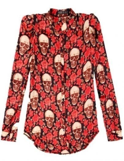 Red Lapel Long Sleeve Floral Skull Print Shirt