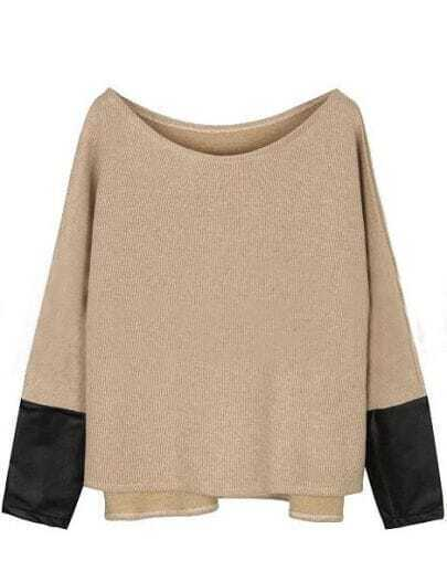 Khaki Contrast PU Leather Long Sleeve Pullovers Sweater