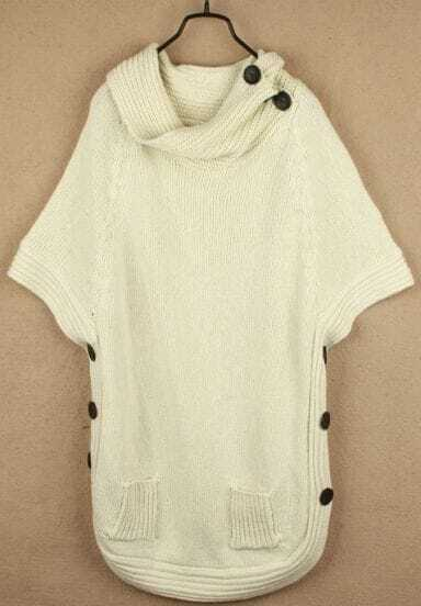 Beige High Neck Batwing Pockets Pullovers Sweater