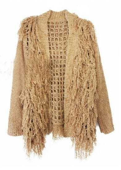 Khaki Long Sleeve Hollow Tassel Cardigan Sweater