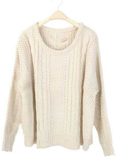 Beige Round Neck Batwing Long Sleeve Pullovers Sweater