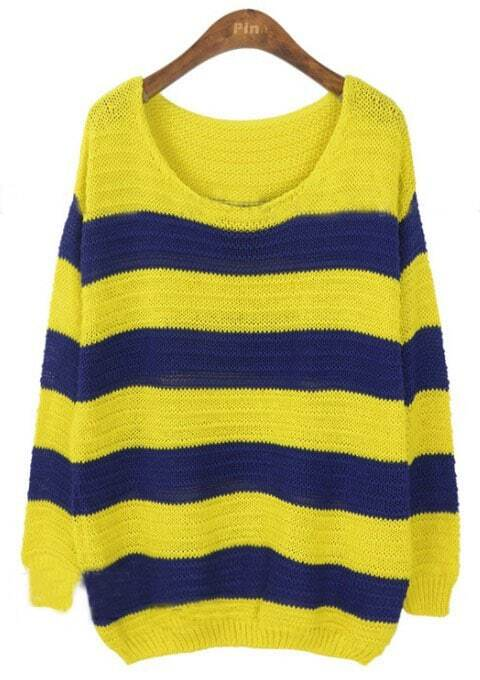 Yellow Blue Striped Long Sleeve Pullovers Sweater -SheIn(Sheinside)