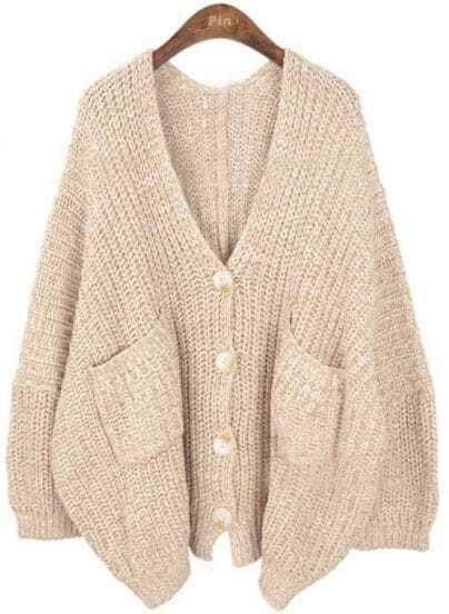 Khaki V Neck Pockets Batwing Loose Cardigan Sweater