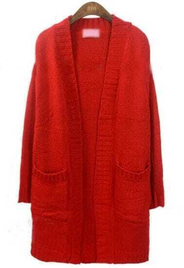 Red Long Sleeve Pockets Loose Cardigan Sweater