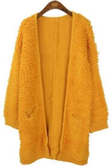 Orange Long Sleeve Pockets Cardigan Sweater