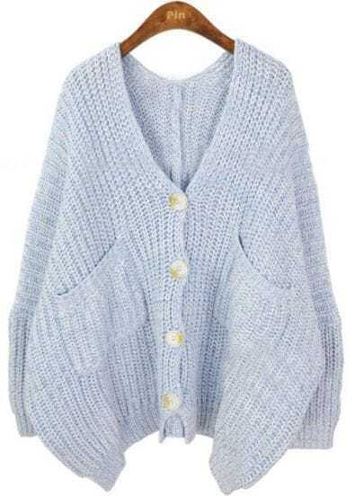 Blue V Neck Pockets Batwing Loose Cardigan Sweater