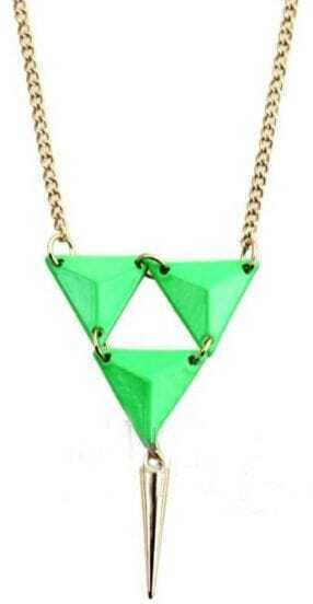 Green Triangle Gold Spike Necklace