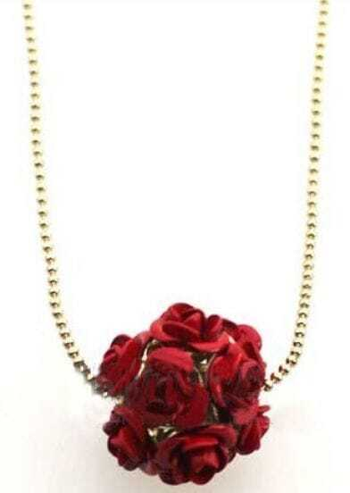 Dark Red Roses Ball Gold Necklace
