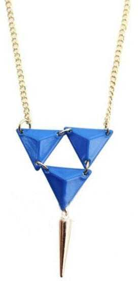Blue Triangle Gold Spike Necklace