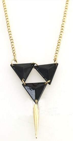 Black Triangle Gold Spike Necklace