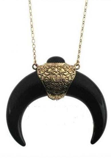 Black Crescent Shape Gold Necklace