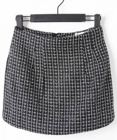 Black High Waist Zipper Plaid Skirt