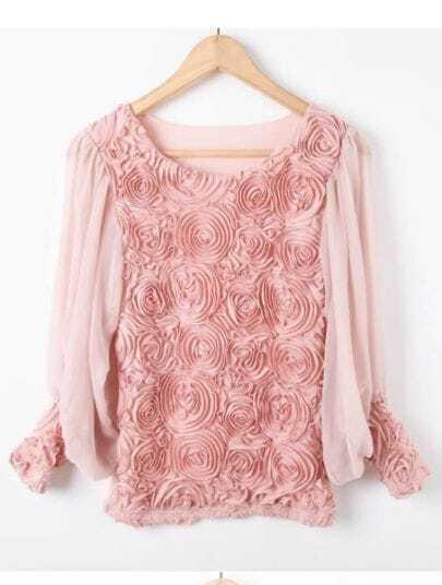Pink Long Sleeve Flowers Chiffon Blouse