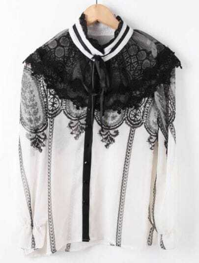 White Long Sleeve Embroidery Cape Blouse
