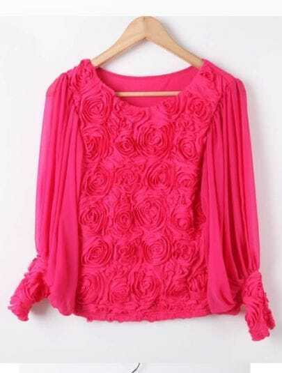 Rose Red Long Sleeve Flowers Chiffon Blouse