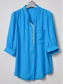 Blue High Neck Half Sleeve Chiffon Blouse