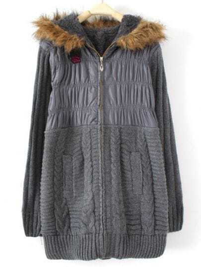 Dark Grey Hooded Long Sleeve Zipper Pleated Coat