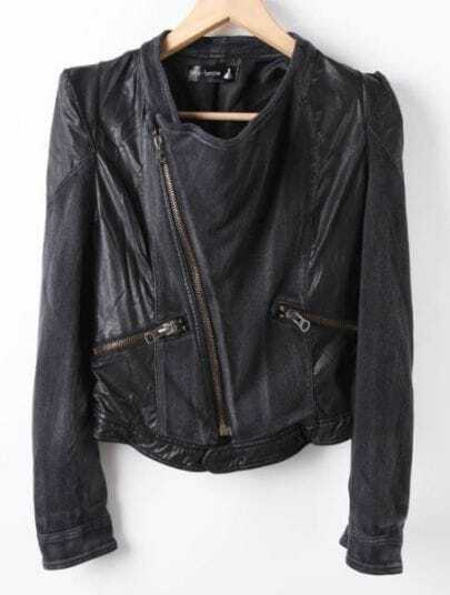 Black Long Sleeve Contrast Leather Zipper Denim Coat