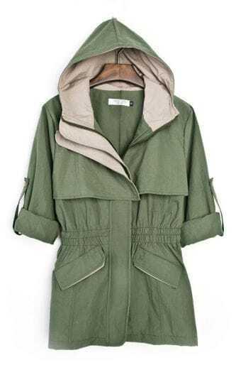 Army Green Hooded Elasic Waist Zipper Coat