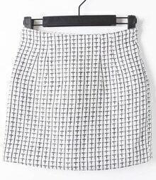 White High Waist Zipper Plaid Skirt
