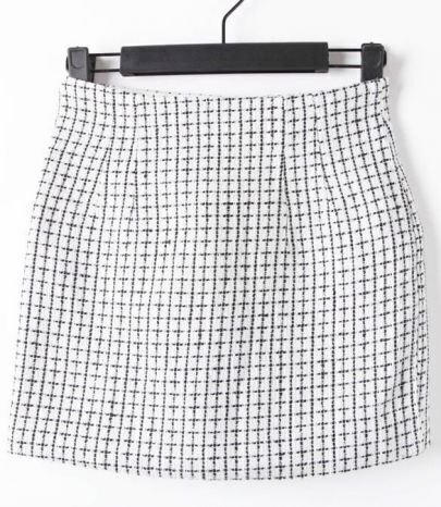 White High Waist Zipper Plaid Skirt