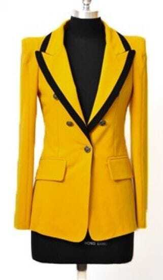 Yellow Notch Lapel Long Sleeve Pockets Suit