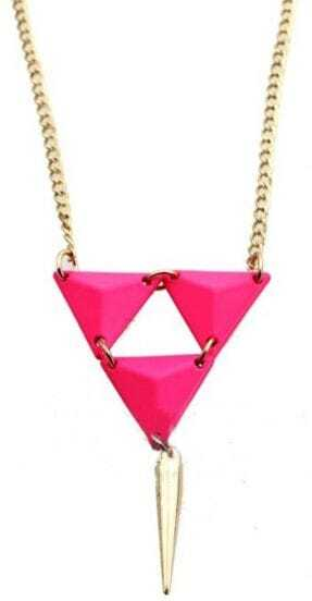 Pink Triangle Gold Spike Necklace