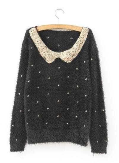 Black Polka Dot Sequins Collar Fluffy Jumper Sweater