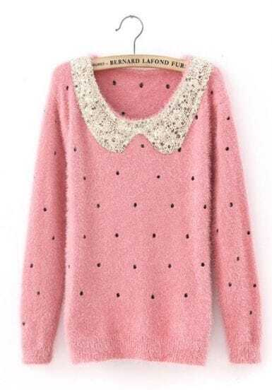 Red Polka Dot Sequins Collar Fluffy Jumper Sweater