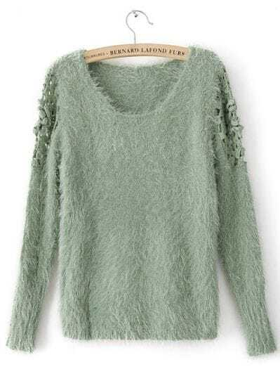 Green Long Sleeve Embroidery Pullovers Sweater
