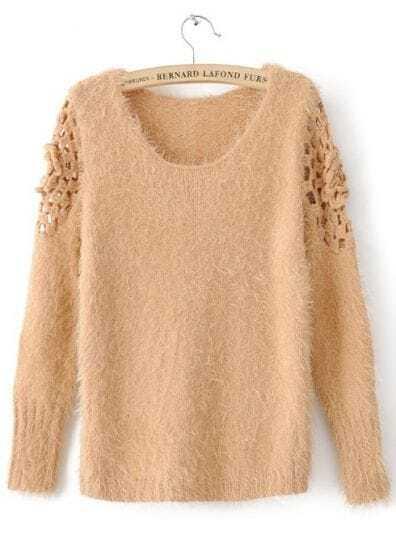 Orange Long Sleeve Embroidery Pullovers Sweater