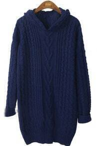Dark Blue Hooded Long Sleeve Hollow Loose Sweater