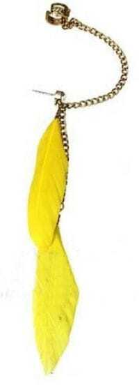Yellow Feather with Chain Ear Cuff Earring