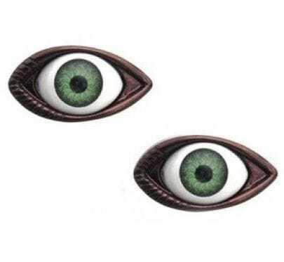 Green Pupil Copper Eye Stud Earrings