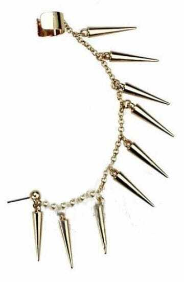 Gold Spike with Chain Ear Cuff Earring
