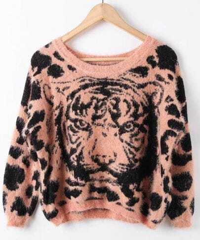 Pink Batwing Sleeve Tiger Print Fluffy Pullovers Sweater