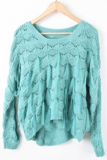 Turquoise Long Sleeve Mesh Yoke Tassel Pullovers Sweater