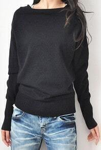 Black Boat Neck Long Sleeve Batwing Pullovers Sweater