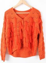 Orange Long Sleeve Mesh Yoke Tassel Cardigan Sweater