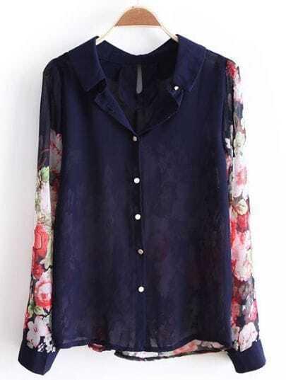 Navy Floral Long Sleeve Sheer Chiffon Shirt