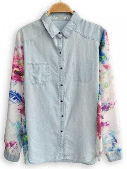 Blue Lapel Floral Long Sleeve Pockets Denim Shirt