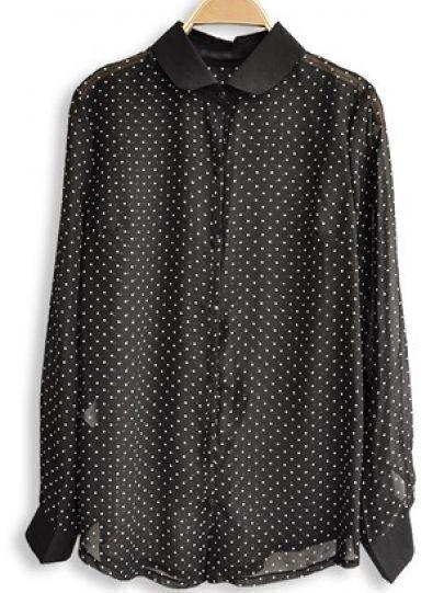 Black Lapel Long Sleeve Sheer Polka Dot Chiffon Shirt