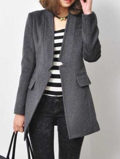 Grey High Neck Long Sleeve Gap Coat