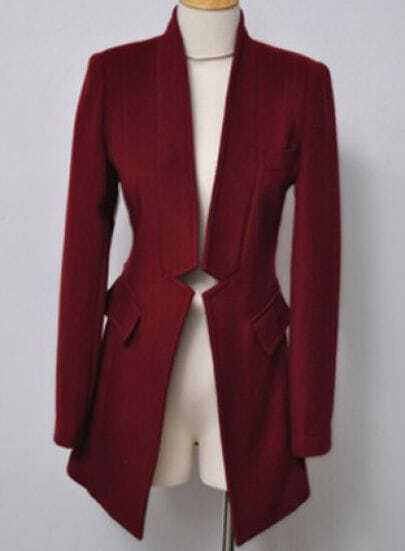 Wine Red High Neck Long Sleeve Gap Coat
