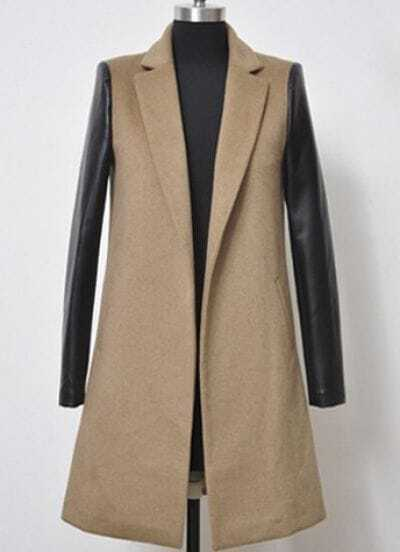 Camel Notch Lapel Contrast Leather Long Sleeve Coat
