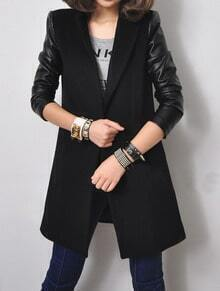 Black Notch Lapel Contrast Leather Long Sleeve Coat