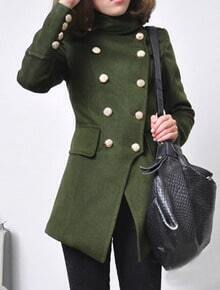 Green Long Sleeve Buttons Embellished Coat