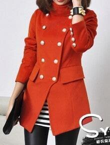 Red Long Sleeve Buttons Embellished Coat