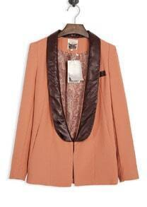 Orange Contrast Leather Neck Long Sleeve Coat