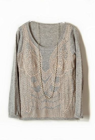 Grey Long Sleeve Elasic Embroidery Pullovers Sweater
